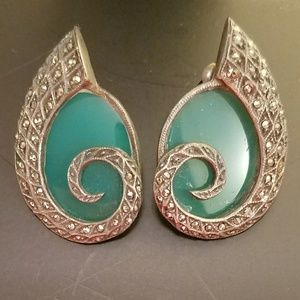 Vintage Art Deco marcasite & green onyx earrings
